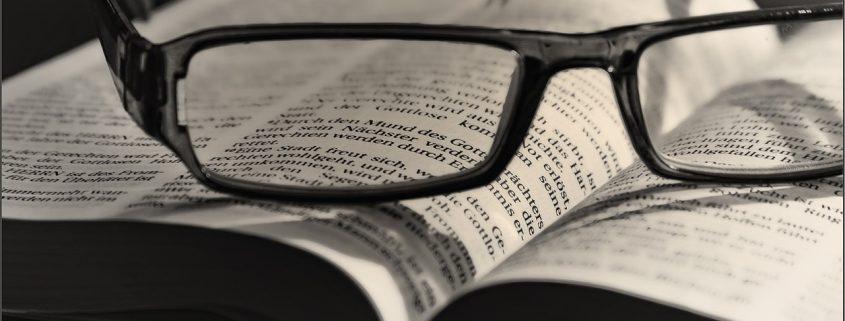 Symbolbild Buch mit Brille